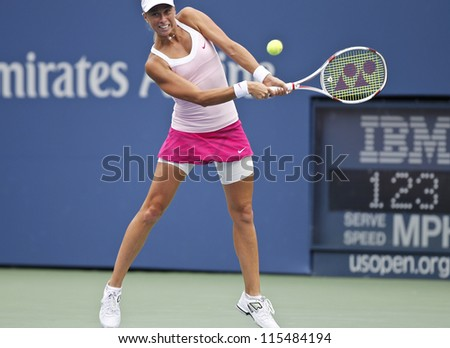 NEW YORK - SEPTEMBER 03: Andrea Hlavackova of Czech Republic returns ball during 4th round match against Serena Williams of USA at US Open tennis tournament on September 3, 2012 in Flashing New York