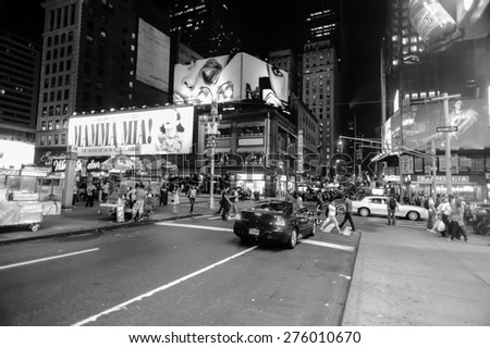 NEW YORK - SEPTEMBER 25: area near Times Square at night on September 25, 2011 in New-York, USA. Times Square is a major commercial intersection and a neighborhood in Midtown Manhattan, New York City - stock photo