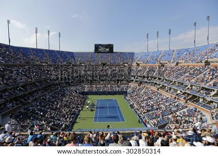 NEW YORK - SEPTEMBER 4, 2014: Arthur Ashe Stadium during match at US Open 2014 at Billie Jean King National Tennis Center - stock photo