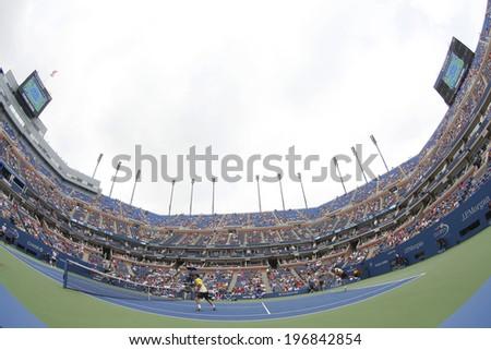 NEW YORK - SEPTEMBER 1  Arthur Ashe Stadium during US Open third round doubles match at Billie Jean King National Tennis Center on September 1, 2013 in New York  - stock photo