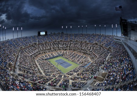 NEW YORK - SEPTEMBER 7: Atmosphere at Arthur Ash stadium during US Open semifinal match between Rafael Nadal of Spain & Richard Gasquet of France at USTA National Tennis Center on Sep 7, 2013 in NYC