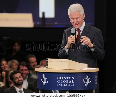 NEW YORK - SEPTEMBER 26: Bill Clinton attends the Clinton Global Initiative Annual Meeting at The Shertaon New York Hotel on September 26, 2013 in New York City.