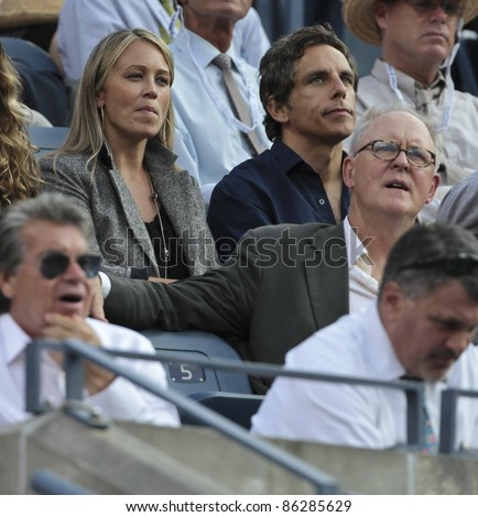NEW YORK - SEPTEMBER 12: Christine Taylor, Ben Stiller, John Lithgow attend final match between Novak Djokovic of Serbia and Rafael Nadal of Spain at US Open on September 12, 2011 in New York City, NY.