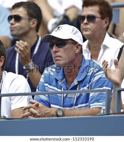 NEW YORK - SEPTEMBER 8: Coach champion Ivan Lendl attends semifinal match between Andy Murray of United Kingdom & Tomas Berdych of Czech Republic at US Open tennis tournament on Sep 8 2012 in NYC