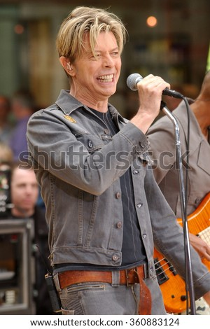 NEW YORK - SEPTEMBER 18, 2003: David Bowie performs on NBC's Today Show at Rockefeller Plaza on September 18, 2003 in New York City.