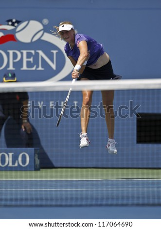 NEW YORK - SEPTEMBER 1: Ekaterina Makarova of Russia returns ball during 3rd round match against Serena Williams of USA at US Open tennis tournament on September 1, 2012 in Flushing Meadows New York