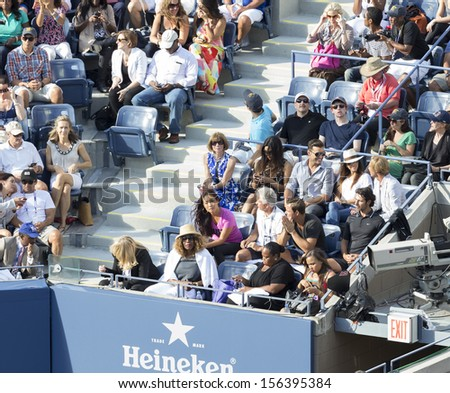 NEW YORK - SEPTEMBER 8: Family and friends attend US Open final match between Serena Williams of USA & Victoria Azarenka of Belarus at USTA National Tennis Center on September 8, 2013 in NYC