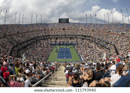 NEW YORK - SEPTEMBER 2: General view of Arthur Ash stadium during 4th round match between Andy Roddick of USA and Fabio Fognini of Italy at US Open tennis tournament on September 2, 2012 in NYC - stock photo