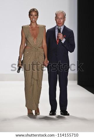 NEW YORK - SEPTEMBER 07: Heidi Klum & Tim Gunn speak on runway for Project Runway Collection during Spring/Summer 2013 at Mercedes-Benz Fashion Week on September 07, 2012 in New York - stock photo