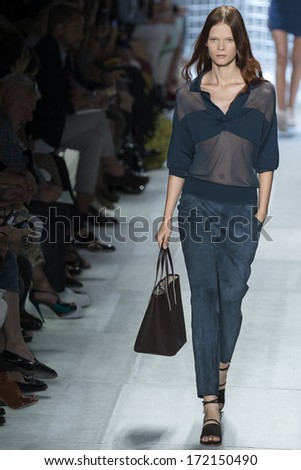 NEW YORK - SEPTEMBER 07 2013: Irina Kravchenko is walking the runaway at Lacoste Collection Spring Summer 2014 fashion show during Mercedes-Benz Fashion Week