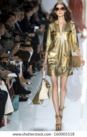 NEW YORK - SEPTEMBER 08: Kati Nescher is walking the runaway at Diane Von Furstenberg Collection for Spring/Summer 2014 fashion show during Mercedes-Benz Fashion Week on SEPTMEBR 08, 2013 in New York - stock photo