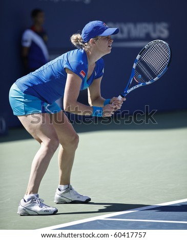 NEW YORK - SEPTEMBER 05: Kim Clisters of Belgium returns the ball during fourth round match against Ana Ivanovic of Serbia at US Open tennis tournament on September 05, 2010, New York.