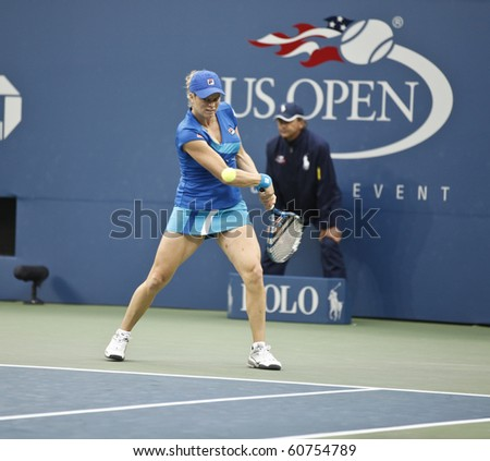 NEW YORK - SEPTEMBER 10: Kim Clisters of Belgium returns the ball during semifinal match against Venus Williams of USA at US Open tennis tournament on September 10, 2010, New York