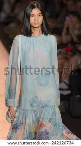 NEW YORK - SEPTEMBER 04 2014: Leaf Zhang is walking the runway at BCBGMAXAZRIA Spring 2015 Ready-to-Wear Show during Mercedes-Benz Fashion Week at Lincoln Center