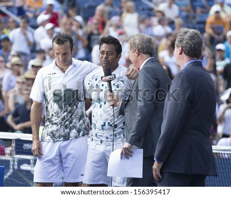 NEW YORK - SEPTEMBER 8: Leander Paes of India & Radek Stepanek of Czech Republic give interview at 2013 US Open at USTA National Tennis Center on Sep 8, 2013 in NYC