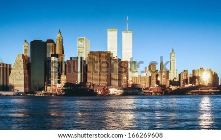 NEW YORK - SEPTEMBER 30: Lower mahattan and  World Trade Center on September 30, 1996 in New York City, America.  the WTC was destroyed by 911 from terrorists. - stock photo