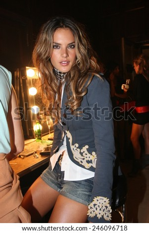 NEW YORK - SEPTEMBER 09 : Model Alessandra Ambrosio posing backstage during  Rock & Republic at Olympus Fashion Week Spring 2007  at Cipriani  - September 09, 2006 in NYC, NY, United States. - stock photo
