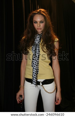 NEW YORK - SEPTEMBER 09 : Model Candice Swanepoel posing backstage during  Rock & Republic at Olympus Fashion Week Spring 2007  at Cipriani  - September 09, 2006 in NYC, NY, United States. - stock photo