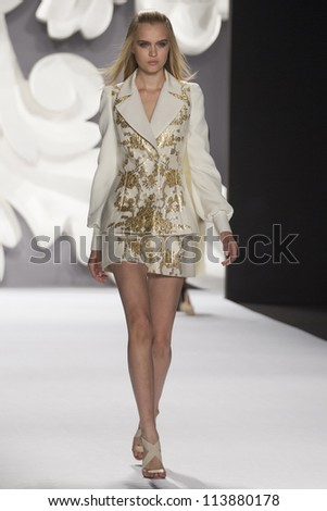 NEW YORK - SEPTEMBER 10: Model Josephine Skriver walks the runway at the Carolina Herrera S/S 2013 collection presentation during Mercedes-Benz Fashion Week on September 10, 2011 in New York.