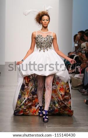 NEW YORK- SEPTEMBER 12: Model walks runway at Studio 6th Sense show for S/S 2013 during Nolcha Fashion Week on September 12, 2012 in New York City, NY - stock photo