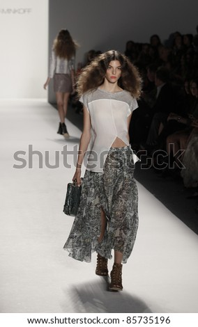 NEW YORK - SEPTEMBER 12: Model walks runway for collection by Rebecca Minkoff at Mercedes-Benz Spring/Summer 2012 Fashion Week on September 12, 2011 in New York City
