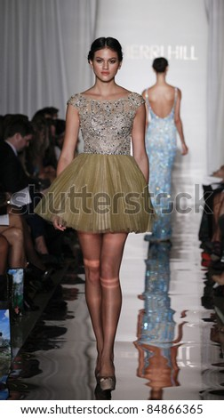 NEW YORK - SEPTEMBER 14: Model walks runway for collection by Sherri Hill at Mercedes-Benz Spring/Summer 2012 Fashion Week in Trump Tower on September 14, 2011 in New York City - stock photo