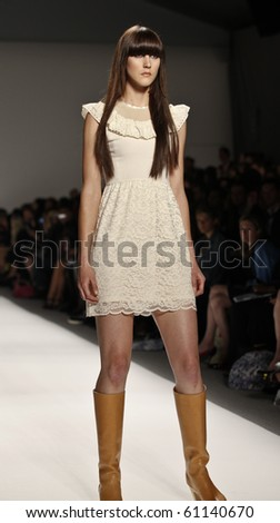 NEW YORK - SEPTEMBER 16: Model walks the runway for IvanaHelsinki Collection on Spring/Summer 2011 during Mercedes-Benz Fashion Week on September 16, 2010 in New York