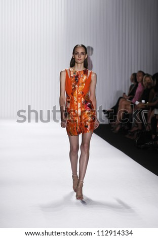 NEW YORK - SEPTEMBER 12: Model walks the runway for J. Mendel Collection by Gilles Mendel during Spring/Summer 2013 at Mercedes-Benz Fashion Week on September 12, 2012 in New York