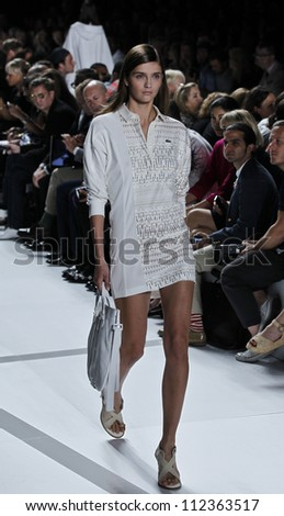 NEW YORK - SEPTEMBER 8: Model walks the runway for Lacoste Collection by Felipe Oliveira Baptista during Spring/Summer 2013 at Mercedes-Benz Fashion Week on September 8, 2012 in New York