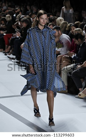 NEW YORK - SEPTEMBER 08: Model walks the runway for Lacoste Collection by Felipe Oliveira Baptista during Spring/Summer 2013 at Mercedes-Benz Fashion Week on September 8, 2012 in New York