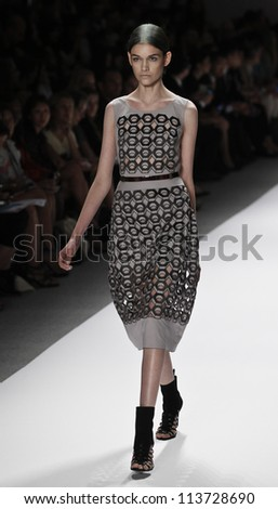 NEW YORK - SEPTEMBER 12: Model walks the runway for Vivienne Tam Collection during Spring/Summer 2013 at Mercedes-Benz Fashion Week on September 12, 2012 in New York - stock photo