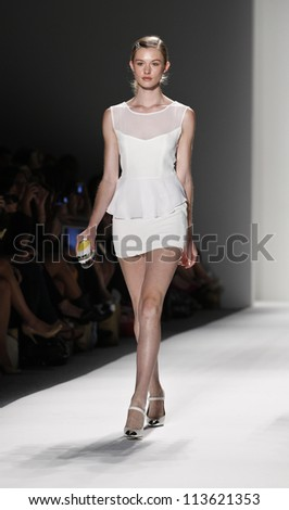 NEW YORK - SEPTEMBER 12: Model walks the runway for Whitney Eve Collection during Spring/Summer 2013 at Mercedes-Benz Fashion Week on September 12, 2012 in New York