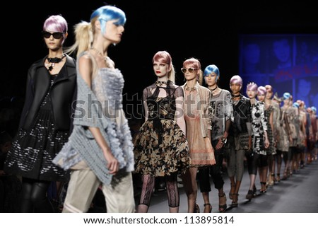 NEW YORK - SEPTEMBER 12: Models walk the runway for Anna Sui Collection during Spring/Summer 2013 at Mercedes-Benz Fashion Week on September 12, 2012 in New York - stock photo