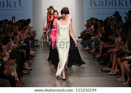 NEW YORK- SEPTEMBER 12: Models walks runway at KabukiU show for S/S 2013 during Nolcha Fashion Week on September 12, 2012 in New York City, NY - stock photo