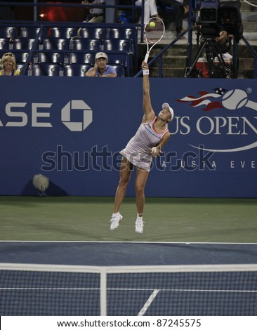 NEW YORK - SEPTEMBER 02: Nadia Petrova of Russia returns ball during 3rd round match against Samantha Stosur of Australia at USTA Billie Jean King National Tennis Center on September 02, 2011 in NYC