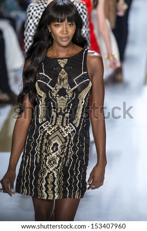 NEW YORK - SEPTEMBER 08: Naomi Campbell is walking the runaway at Diane Von Furstenberg Collection for S/S 2014 fashion show during Mercedes-Benz Fashion Week on SEPTMEBR 08, 2013 in New York - stock photo