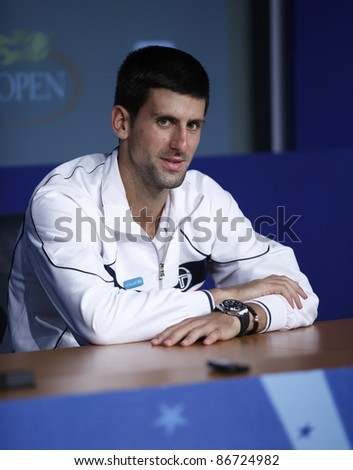 NEW YORK - SEPTEMBER 08: Novak Djokovic of Serbia interview after match Janko Tipsarevic of Serbia at USTA Billie Jean King National Tennis Center on September 08, 2011 in NYC