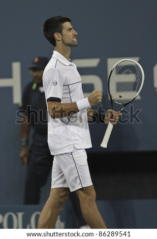 NEW YORK - SEPTEMBER 12: Novak Djokovic of Serbia reacts during final match against Rafael Nadal of Spain at USTA Billie Jean King National Tennis Center on September 12, 2011 in NYC - stock photo