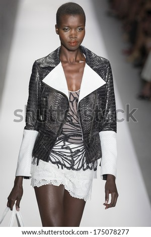 NEW YORK - SEPTEMBER 10 2013: Nykhor Paul is walking the runway at Dennis Basso fashion show for the 2014 Spring collection during Mercedes-Benz Fashion Week