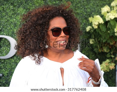 NEW YORK - SEPTEMBER 8, 2015: Oprah Winfrey attends US Open 2015 tennis match between Serena and Venus Williams at USTA Billie Jean King National Tennis Center in New York  - stock photo
