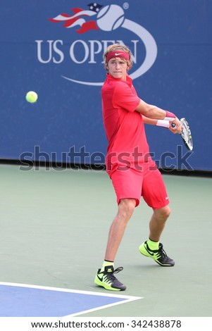 NEW YORK - SEPTEMBER 1, 2015:Professional tennis player Alexander Zverev of Germany in action during his first round match at US Open 2015 at Billie Jean King National Tennis Center in New York