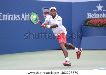 NEW YORK - SEPTEMBER 7, 2015: Professional tennis player Donald Young of United States in action during his round four match at US Open 2015 at National Tennis Center in New York - stock photo