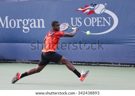 NEW YORK - SEPTEMBER 1, 2015:Professional tennis player Frances Tiafoe of United States in action during his first round match at US Open 2015 at Billie Jean King National Tennis Center in New York