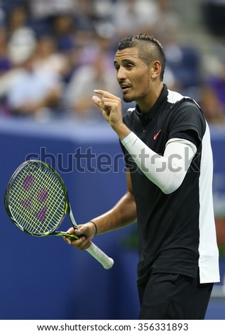 NEW YORK - SEPTEMBER 1, 2015:Professional tennis player Nick Kyrgios of Australia in action during his first round match at US Open 2015 at Billie Jean King National Tennis Center in New York