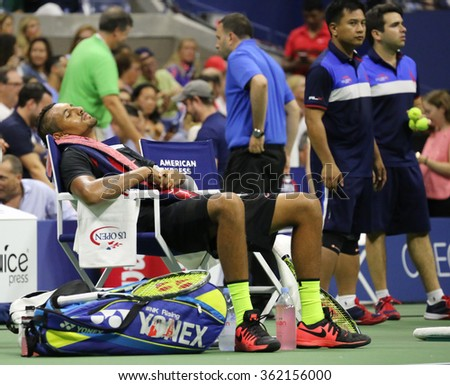 NEW YORK - SEPTEMBER 1, 2015:Professional tennis player Nick Kyrgios of Australia resting during his first round match at US Open 2015 at Billie Jean King National Tennis Center in New York - stock photo