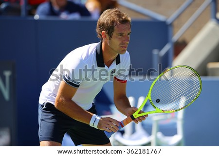 NEW YORK - SEPTEMBER 5, 2015: Professional tennis player Richard Gasquet of France  in action during his third round match at US Open 2015 at Billie Jean King National Tennis Center in New York