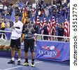 NEW YORK - SEPTEMBER 13: Rafael Nadal of Spain and Novak Djokovic of Serbia with trophies after final match of US Open Tennis Championship on September 13, 2010 in New York, City. - stock photo