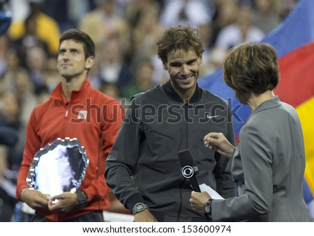 NEW YORK - SEPTEMBER 9: Rafael Nadal of Spain & Novak Djokovic during trophy ceremony after final match of US Open at USTA Billie Jean King National Tennis Center on September 9, 2013 in New York City - stock photo