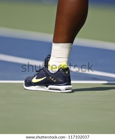 NEW YORK - SEPTEMBER 1: Serena Williams of USA wear Nike sneakers during 3rd round match against Ekaterina Makarova of Russia at US Open tennis tournament on September 2, 2012 in Flashing Meadows NYC