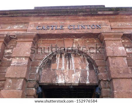 NEW YORK - SEPTEMBER 5: The facade of Castle Clinton is shown on September 5, 2013 in New York. Castle Clinton, then called Castle Garden, served as the country�s first immigration depot. - stock photo